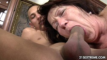Hot 60 years old mature neighbor rides his big dick